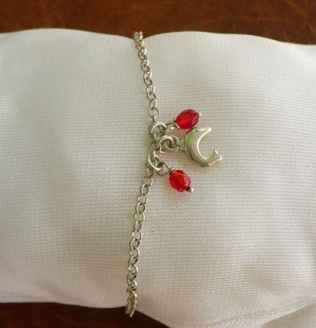 bransoletka srebrna z zawieszkami