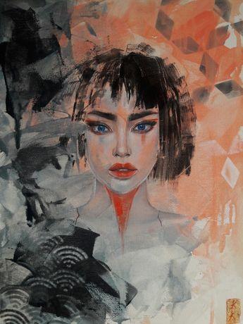 Живопись картина Призрак в доспехах масляные краски