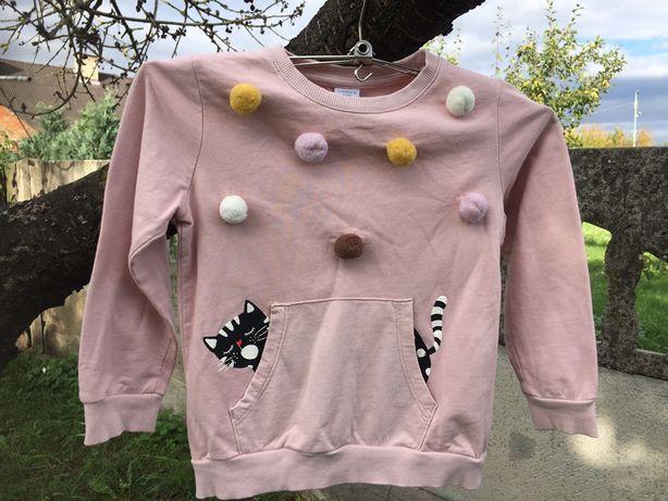 Bluza z kotkiem i pomponami