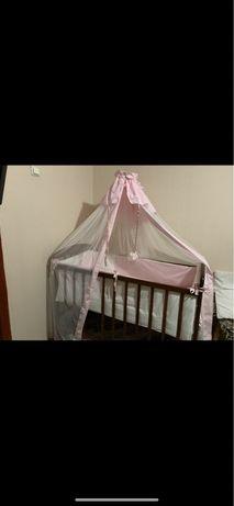 Детская кровать Наталка+матрас+держатель+набор постели