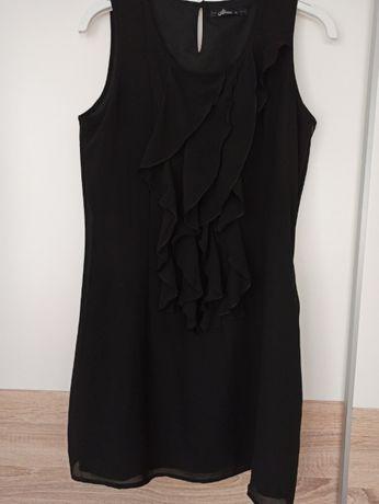 Mała czarna sukienka mini :) z żabotem house Rozmiar M/38