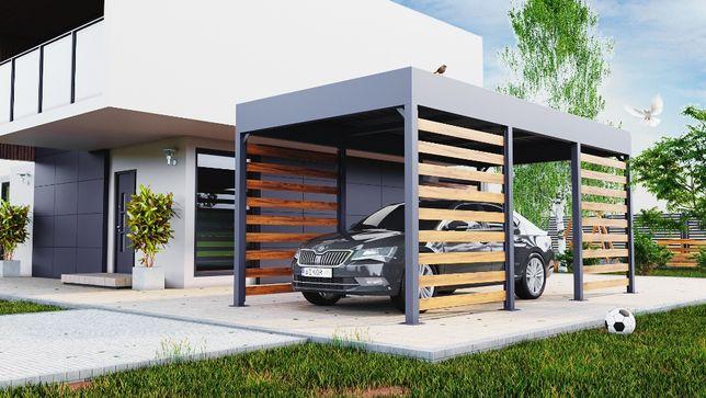 Carport jednostanowiskowy, Wiata samochodowa 3x6 m, Wiata z magazynem