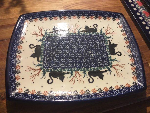 Ceramika Bolesławiec półmisek talerz koty