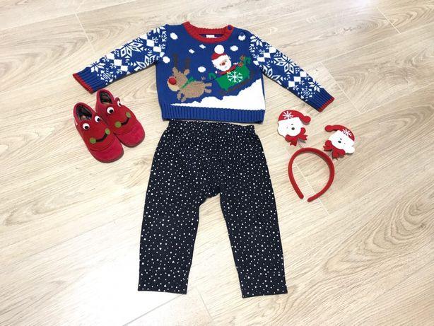 HM Тёплый новогодний свитер M&Co mini club + штаны carters на 9-18 мес