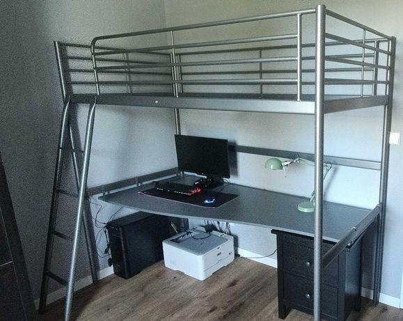 Łóżko piętrowe (na antresoli) z biurkiem IKEA SVÄRTA Łódź