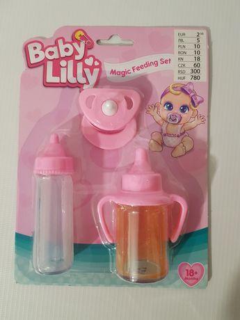 Zestaw buteleczka kubeczek smoczek dla lalki bobas