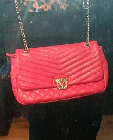 Valentino oryginalna torebka koreprówka czerwona łańcuszek