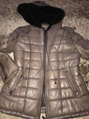 Куртка пуховик кожа мех мутон кожанка