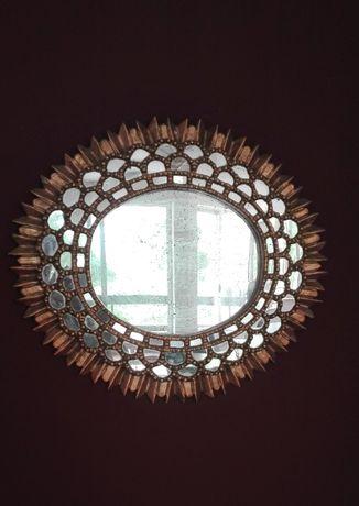 Espelho dourado, madeira exótica