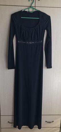 Вечернее чёрное платье в пол S-XS