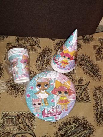 Набор для празднования дня рождения Лол, шарики и посуда