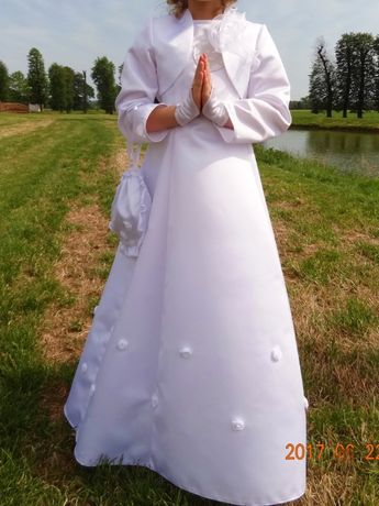 Sukienka komunijna z bolerkiem i torebeczką.
