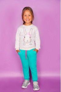 Спортивный Костюм на девочку (начес) на 4-5лет синие штаны