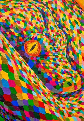 "Картина 70Х100 ""Огненная змея"" холст, акрил"
