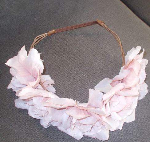 Wianek -opaska Bijou Brigitte bladoróżowe kwiaty - róże - piękny!