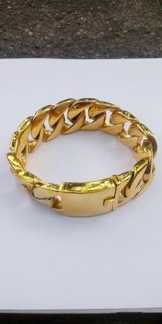 Złota bransoletka,pancerka,ITALY,24cm,316L,nowa,pozłacana bransoletka