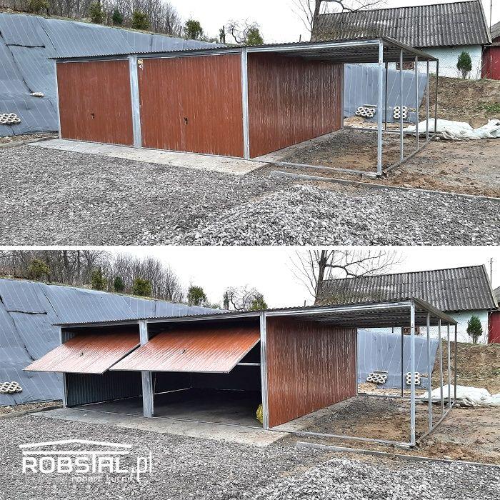 Garaż blaszany 2 stanowiska z boczną wiatą blacha drewnopodobna