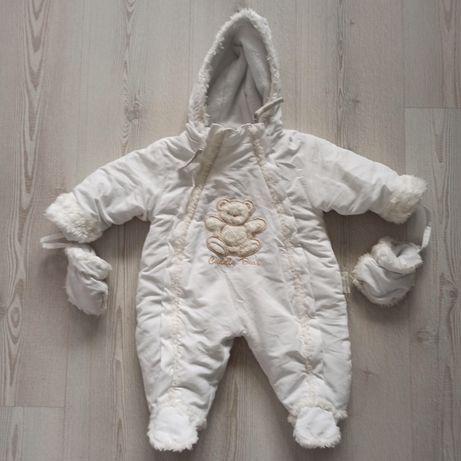 Biały niemowlęcy kombinezon unisex z rękawiczkami, na chrzest / na cod