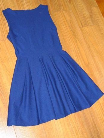 Śliczna rozkloszowana sukienka granat *TOPSHOP* r.34/36