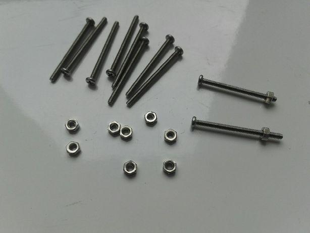 Śruba z nakrętką M1,6 długość 22mm, grubość 1,6mm, stal nierdzewna 304