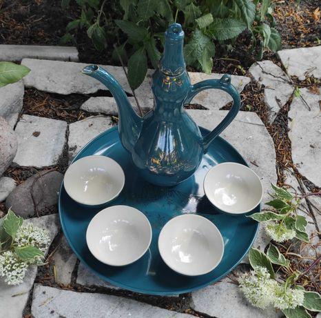 Zestaw do picia sake porcelana Korea Północna ozdoba PRL