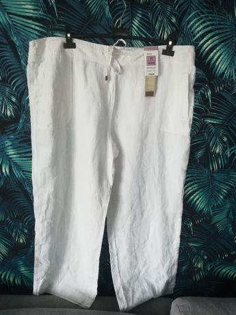R. 50 Marks and Spencer białe nowe spodnie damskie len na lato