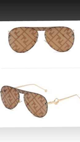 Okulary przeciwsłoneczne fendi brązowe  unisex nowe logowana soczewka