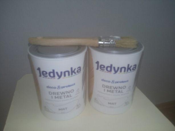 Okazja! Cena za 2 puszki 0.7L Farba Jedynka. Drewno i metal. Biała