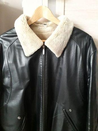Шкіряна чоловіча зимова куртка