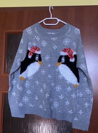 świąteczby sweter z pingwinkami