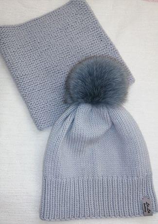 Демисезонная шапка, снуд, комплект