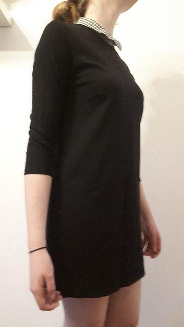 SINSAY czarna sukienka z kołnierzykiem rozmiar S/M