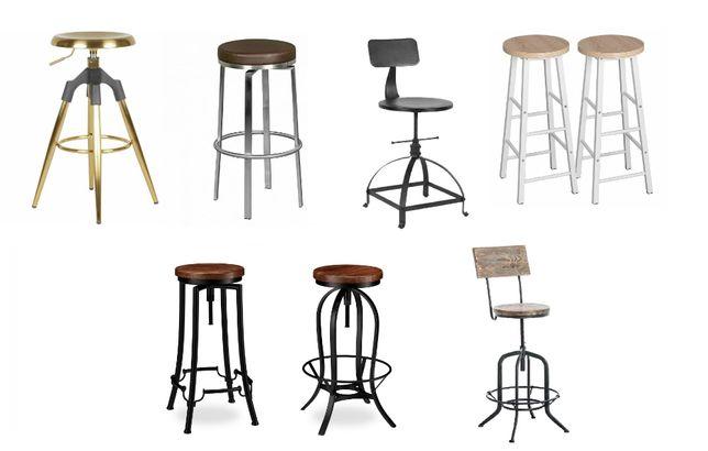 HOKER barowy obrotowy stołek krzesło industrial retro drewno metal