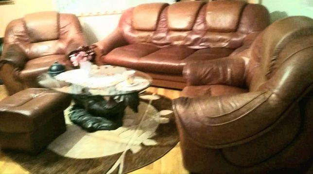 Komplet wypoczynkowy, kanapa, skórzana, sofa, fotele Skóra naturalna