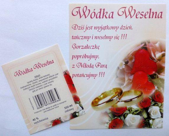 Etykiety naklejki na wódkę weselną ślub nalepki 50szt. dwustronne