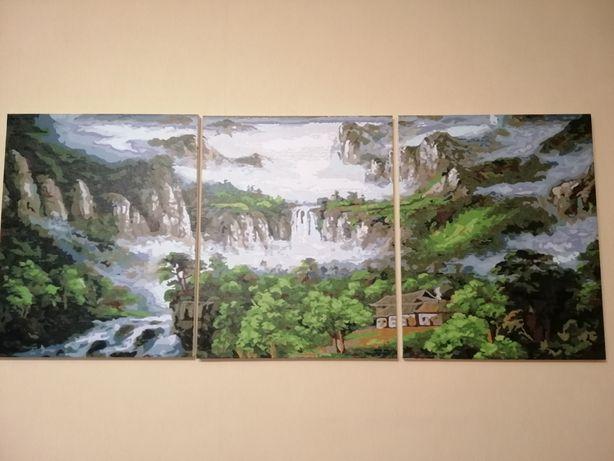 Картина Триптих каскад водопадов.