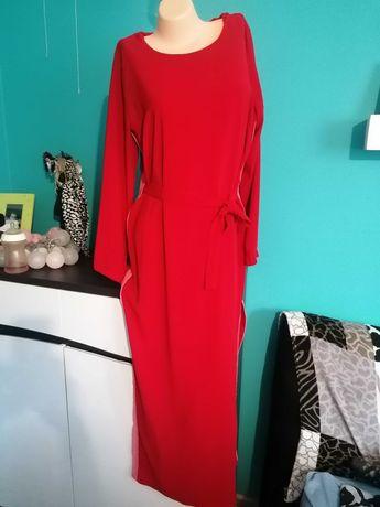 Sukienka maxi reserved , lampasy,rozciencia po bokach