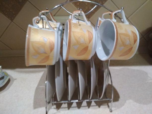 Кофейный сервиз набор кружек и блюдец 6 шт