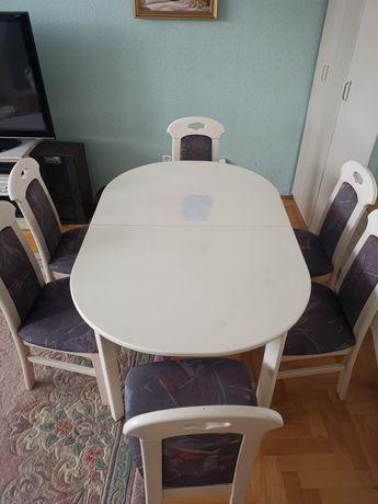 Stół drewniany biały 140-180cm/90cm + 6 krzeseł