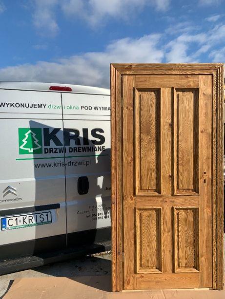 Drzwi drewniane szczotkowane 89 x 208cm od ręki z opaską