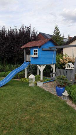 Domek ogrodowy dladzieci, kolorowy, zjeżdżalnia, huśtawka, piaskownica