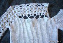Camisola Glamour cor branco pérola tamanho S - Novo