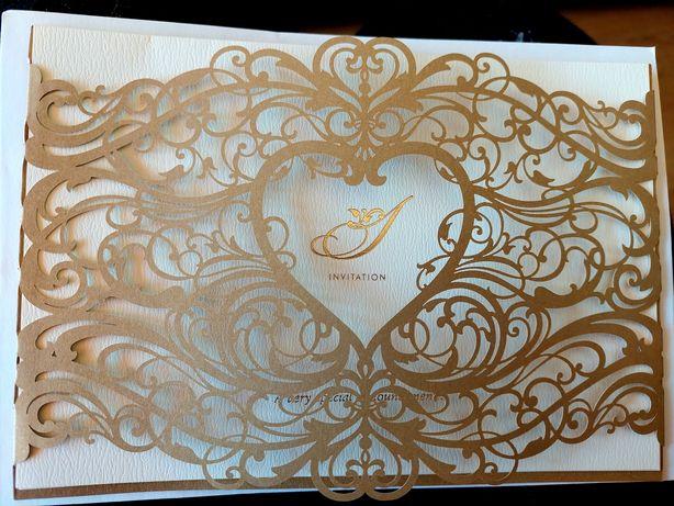 Convites - corte laser dourado