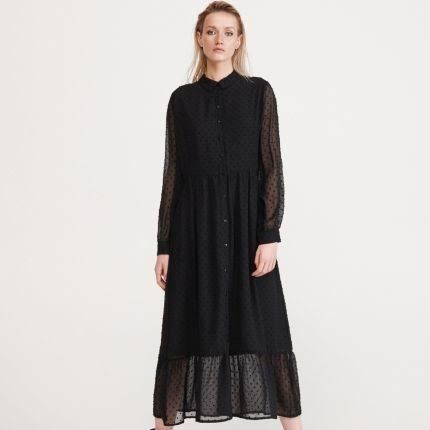 36/S Reserved czarna sukienka kropki falbanki długa midi 7/8