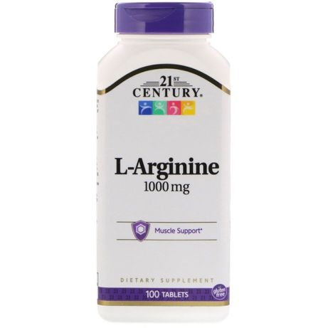 L-аргинин, 1 000 мг, 100 таблеток 21st Century США