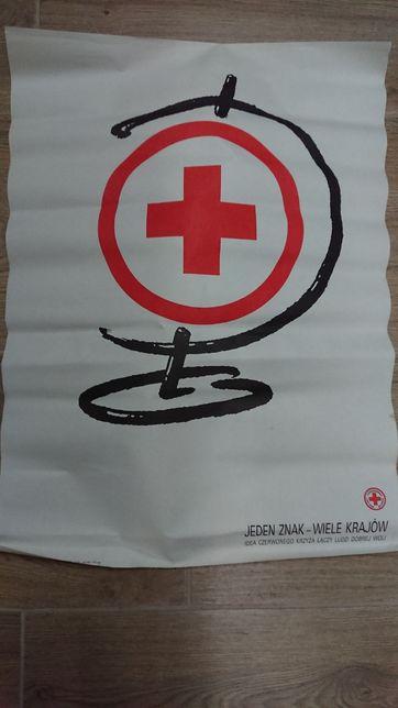 Plakat PCK - Polski Czerwony Krzyż, PRL, vintage.