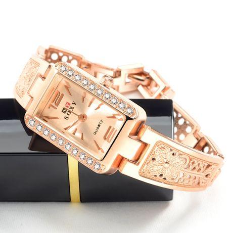 Elegancki złoty zegarek na bransolecie, Walentynki