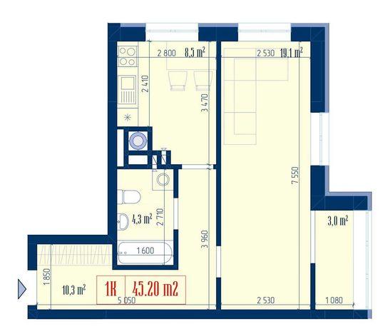 1 -  комнатная квартира с возможностью перепланировки в 2-х комнатную.