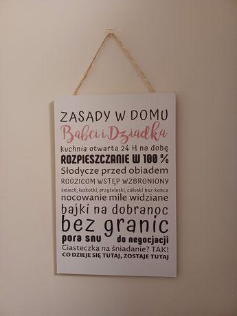 Tabliczka ozdobna do domu dla dziadków prezent zasady w domu
