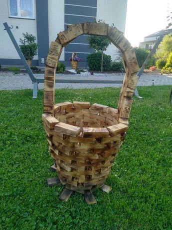 Koszyk na kwiaty Drewniany Sosna Z rączką Doniczka